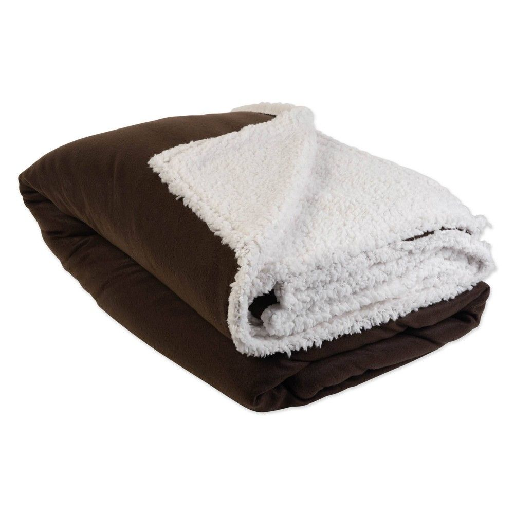 Solid Polar Sherpa Blanket Chocolate Design Imports Design Imports Sherpa Blanket Cotton Throw Blanket What is a sherpa blanket