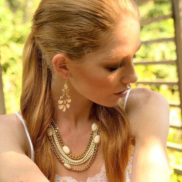 Cream Fleur De Lis Style Earrings #earrings #jewelry #statementjewelry #accessories www.bpoyandjo.com