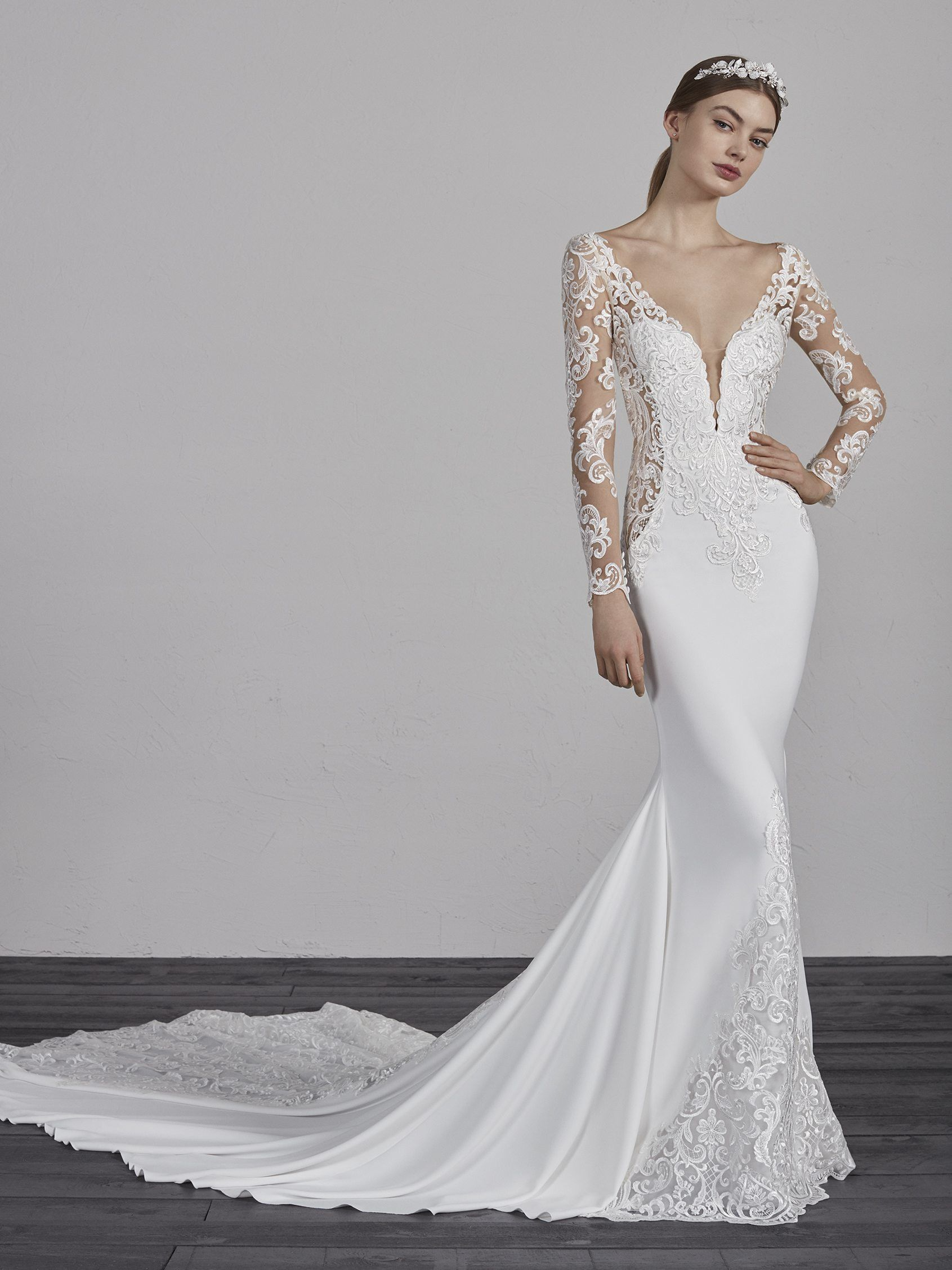 43d25890ff Explosivo vestido de novia sirena efecto segunda piel ENELSA ...