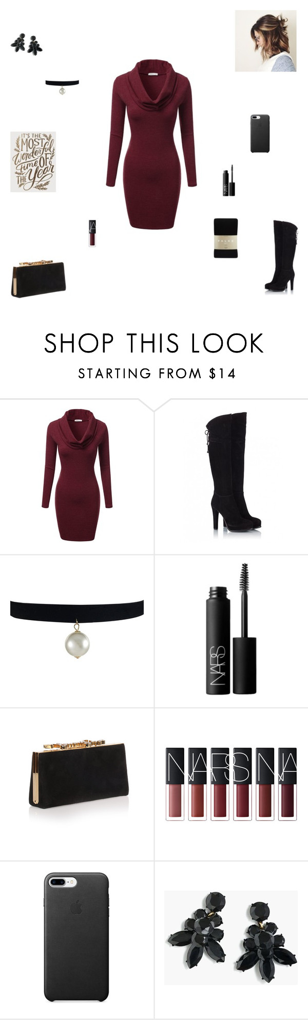 """""""it's the most wonderful time of the year"""" by synclairel ❤ liked on Polyvore featuring J.TOMSON, Fratelli Karida, NARS Cosmetics, Jimmy Choo, J.Crew and Falke"""