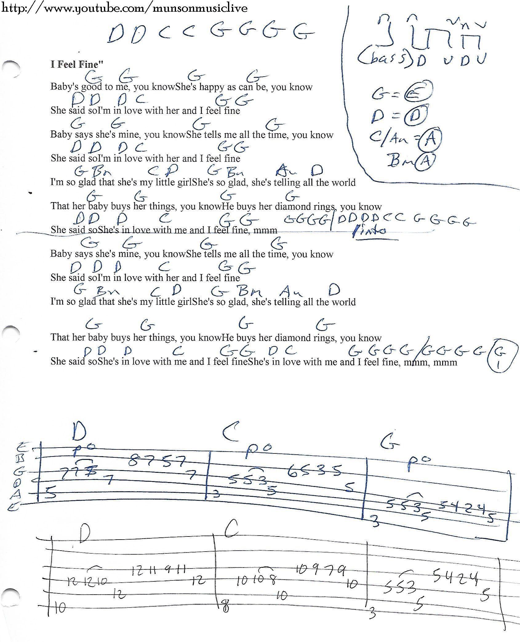 I Feel Fine The Beatles Guitar Chord Chart Guitar Pinterest