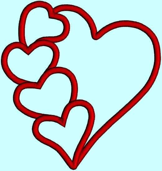 Hearts applique heart love valentine instant download