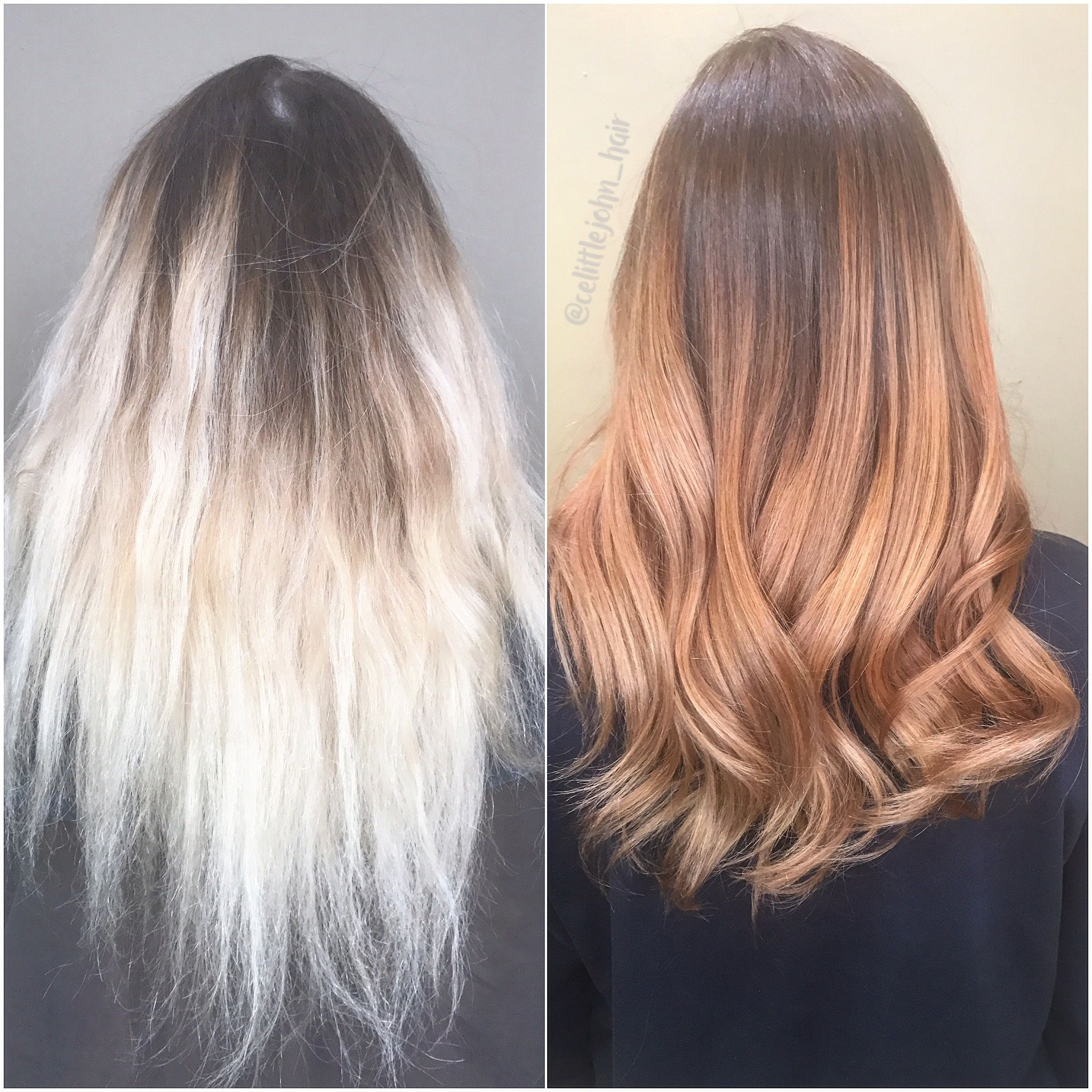 Hair Transformation From Blonde To Copper Ombre Color Correction From Fried Blonde To Silky