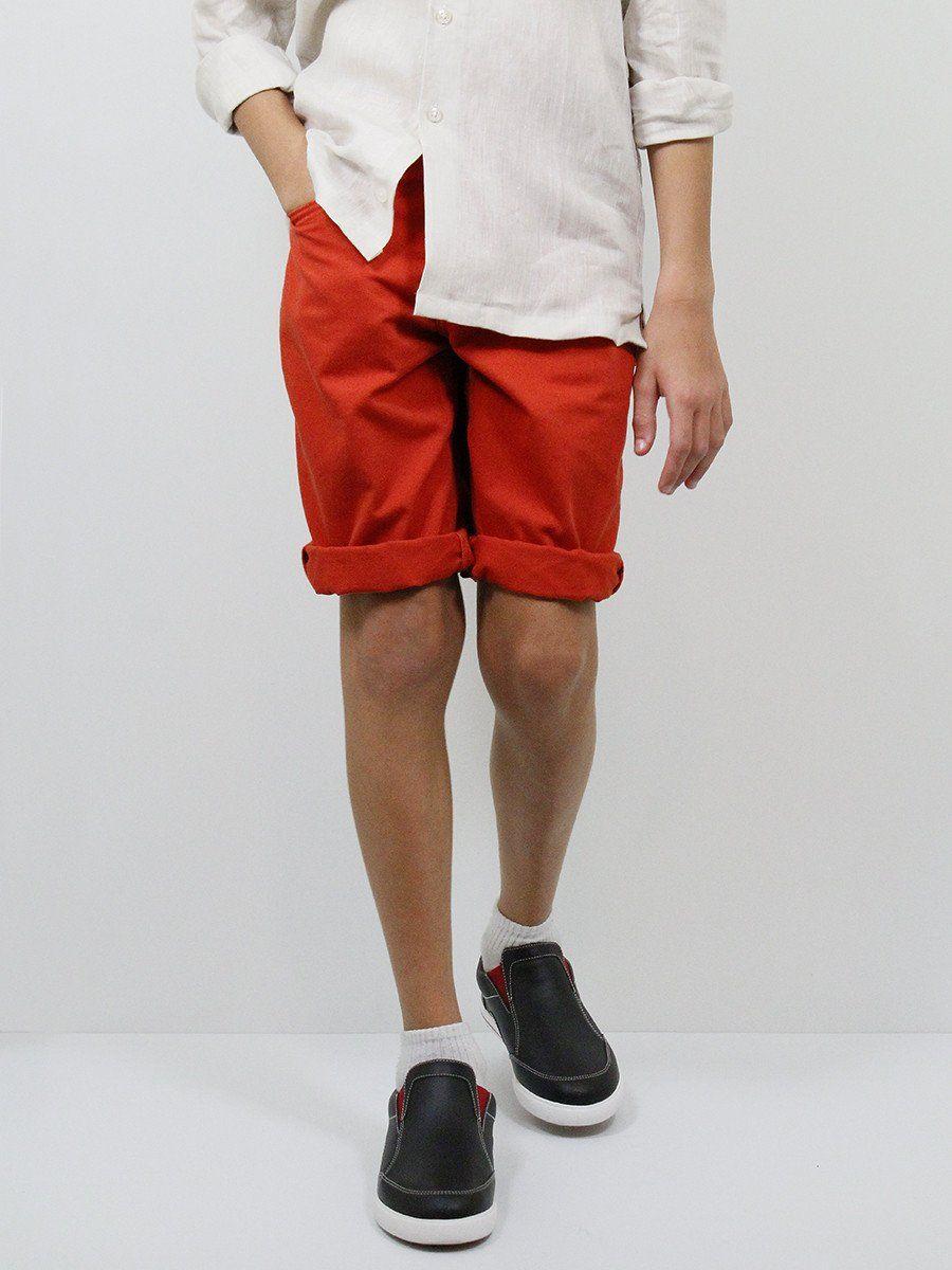 Boy's Shorts 22776 Rust Orange #boyssuits #boyssuitsdotcom #hertigaehouse #goodvibes #shorts #ragazzo #rust #orange
