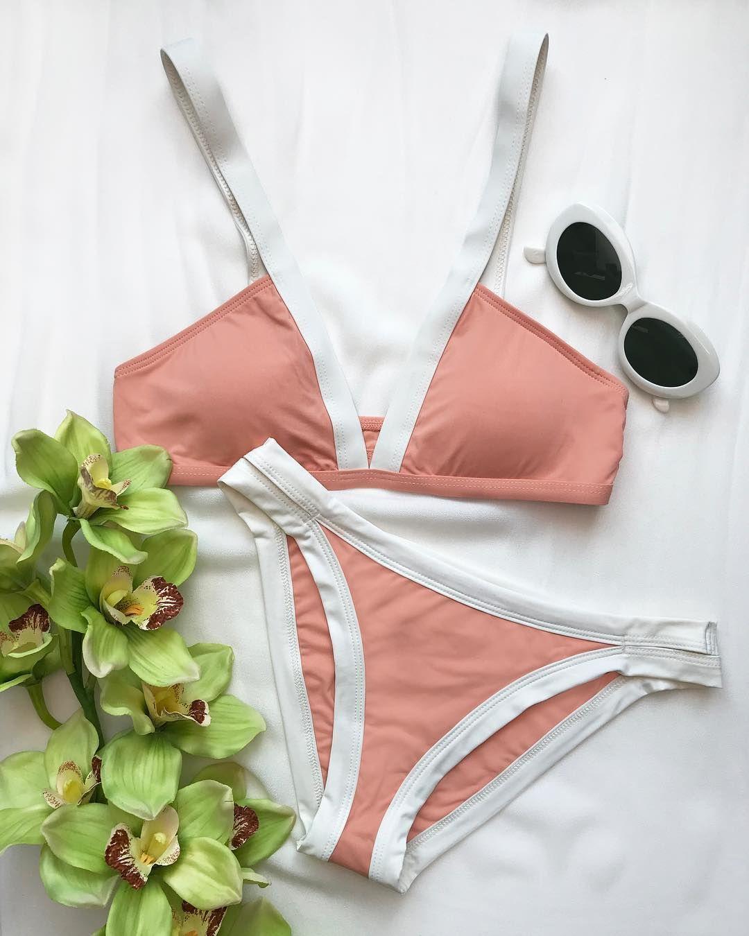 80d6b0abce FARRAH Bikini Top + CHARLIE Bikini Bottom in Tropical Peach