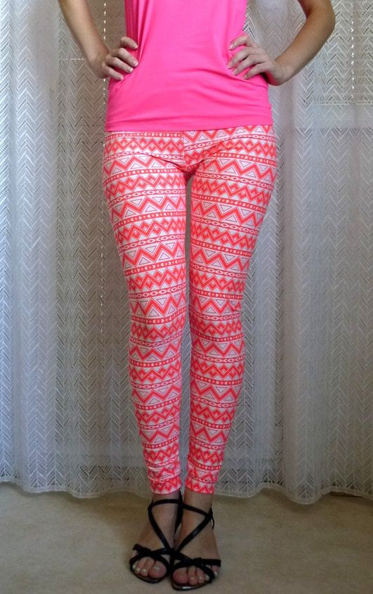 0bed44d4d7ad2 Womens Yoga Leggings, Aztec Print Leggings, Neon Leggings, Orange White  Leggings, Geometric Pattern Leggings, Workout Pants, Organic Tights