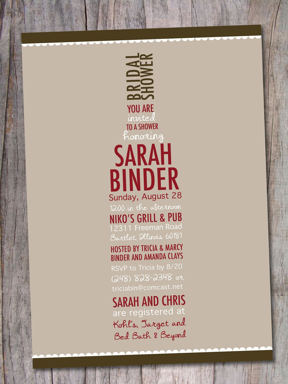 Wine Bridal Shower Invitation - Wine Lovers. $15.00, via Etsy. | The ...