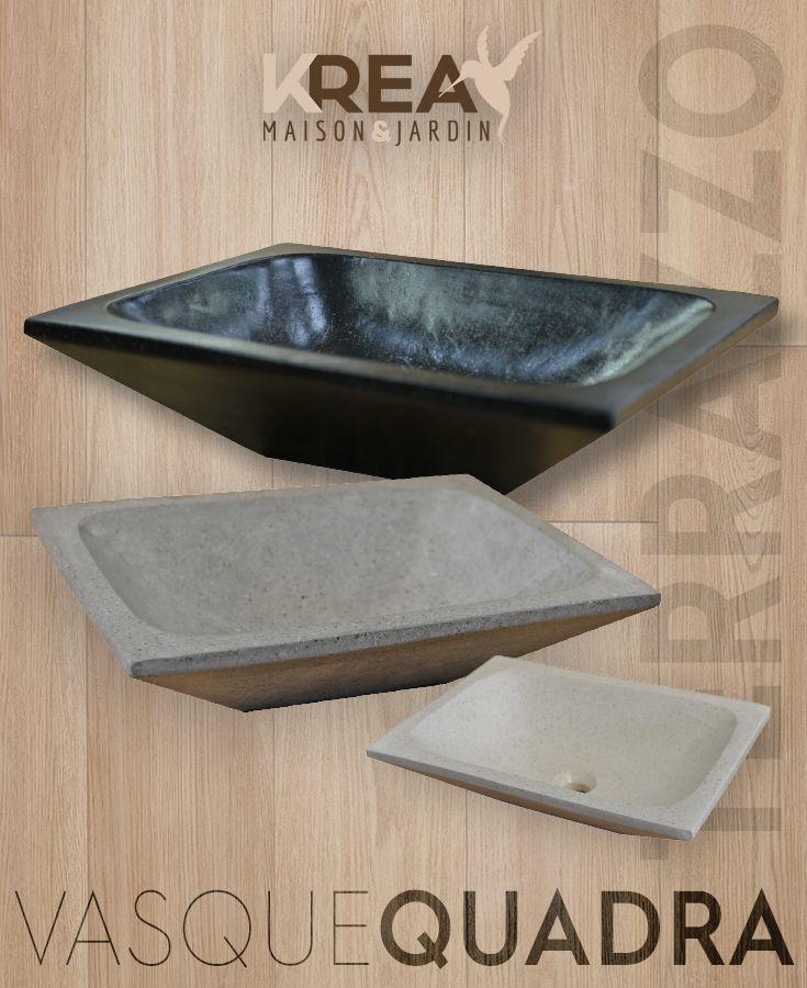 Vasque A Poser Quadra En Terrazzo 50 X 37 X 12 Cm Salledebain Interieur Vasque Terrazzo Home