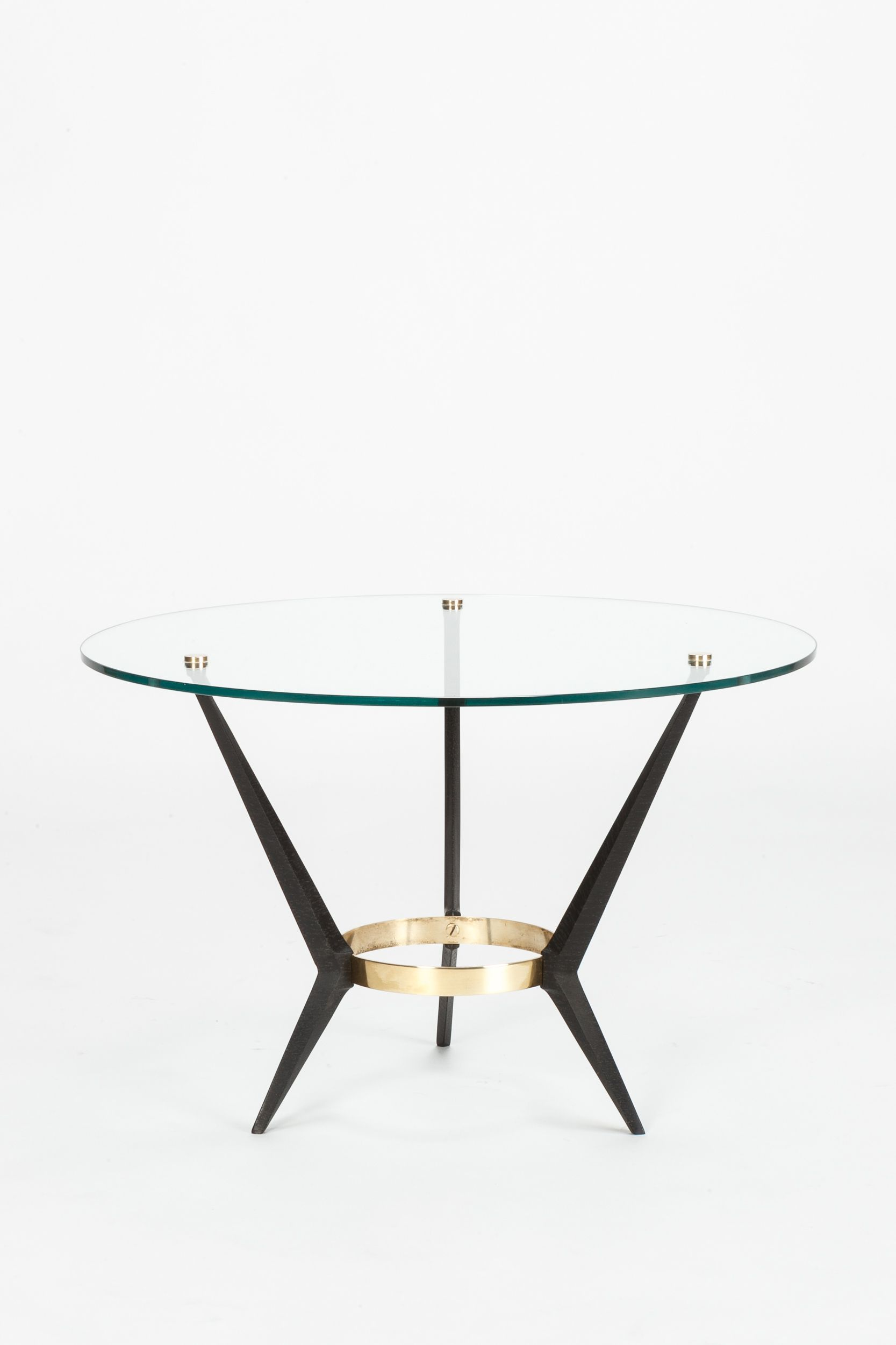 Angelo Ostuni Brass Enameled Metal And Glass Coffe Table