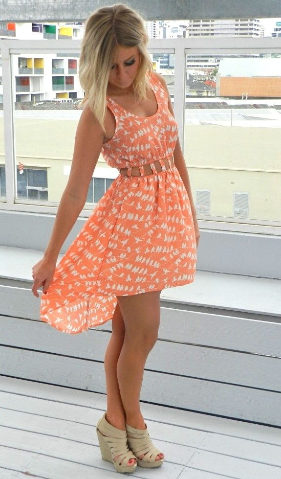 682fba35d419 spring peach dress and wedges! love the colors