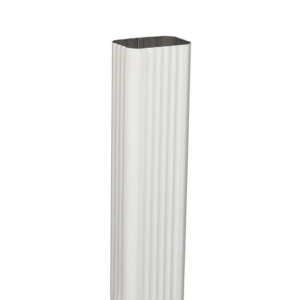 Amerimax Home Products 2 In X 3 In White Steel Downspout 3201400120 The Home Depot Downspout Vinyl Gutter Rain Water Collection System