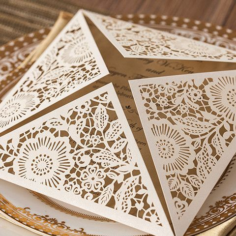 Beau Affordable Pearl White Floral Laser Cut Wedding Invitations EWWS017 As Low  As $2.09 |