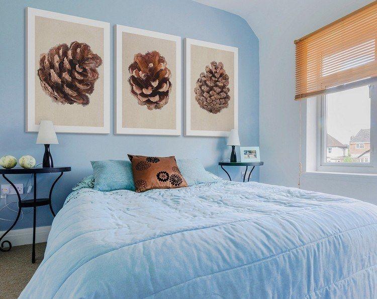 babyblaue wandfarbe f r akzentwand im schlafzimmer. Black Bedroom Furniture Sets. Home Design Ideas
