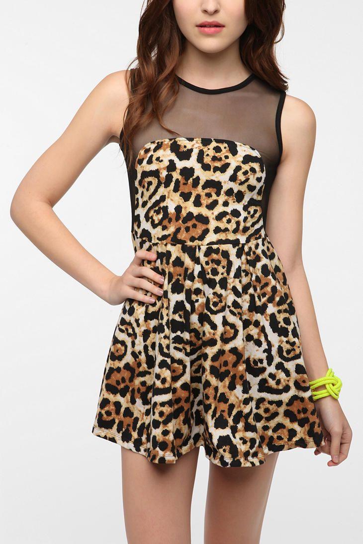 Motel Mandy Mesh Back Dress -Jaguar Print dress so cute  UrbanOutfitters f7f4014d9