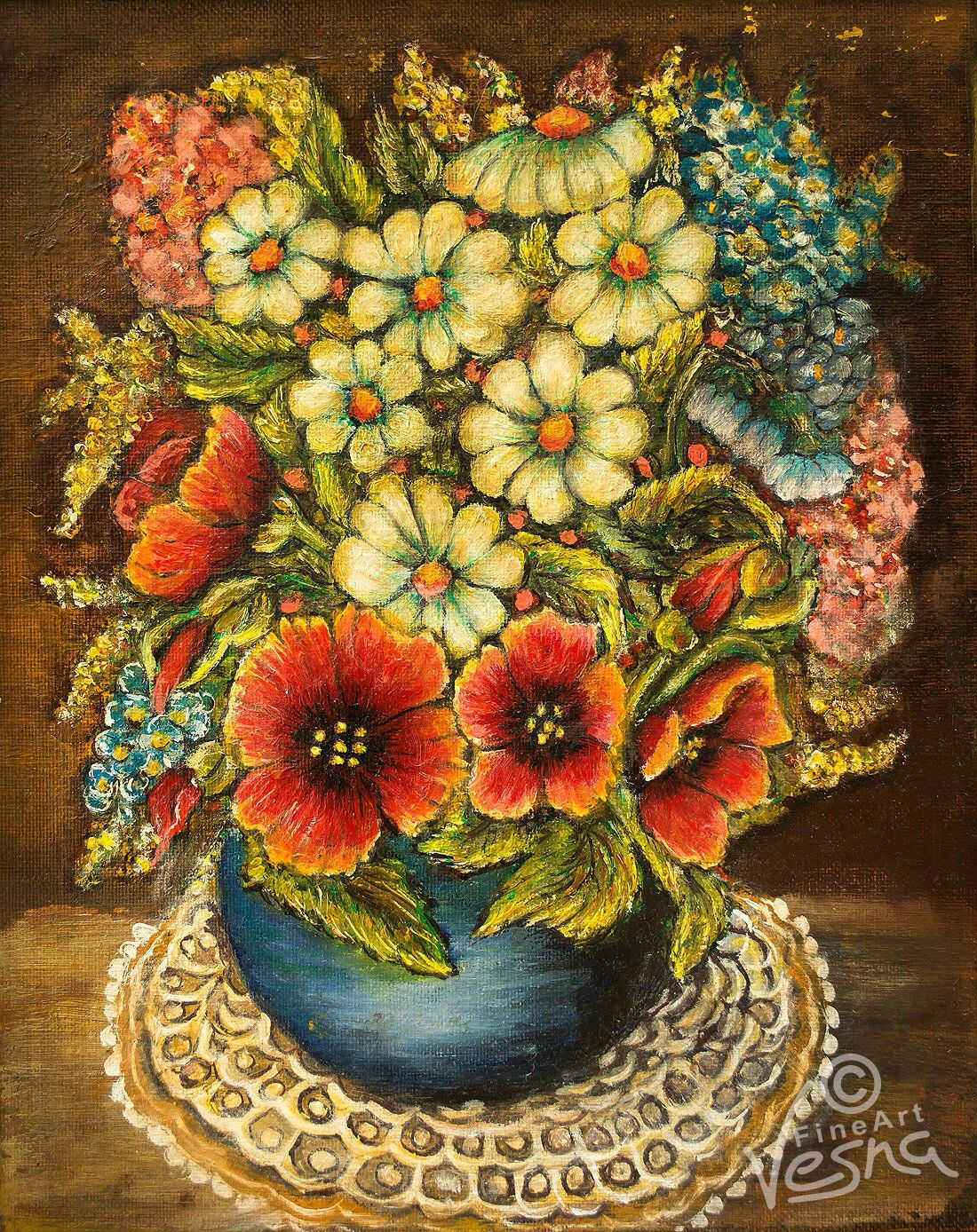 Oil Painting, Red Poppies and daisies, in blue vase, Digital images ...