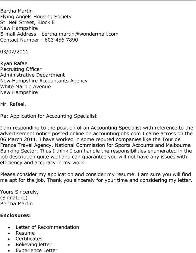 Cover Letter Sample For Accountant Job Application Accounting