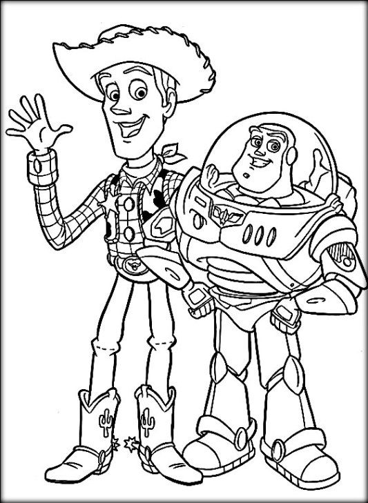 Disney Toy Story Coloring Pages Buzz Woody