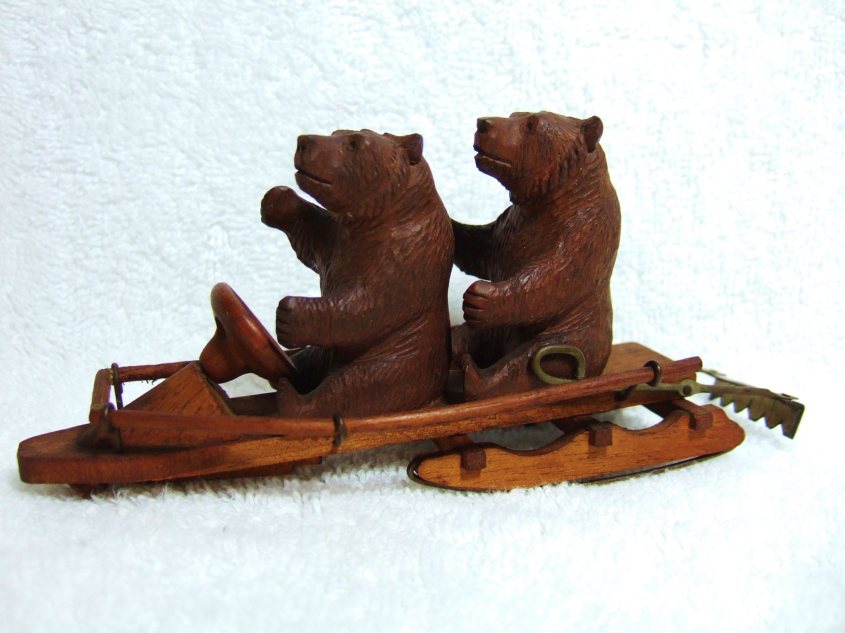Little Swiss Black Forest Bears On Mechanical Toboggan Or Sled With