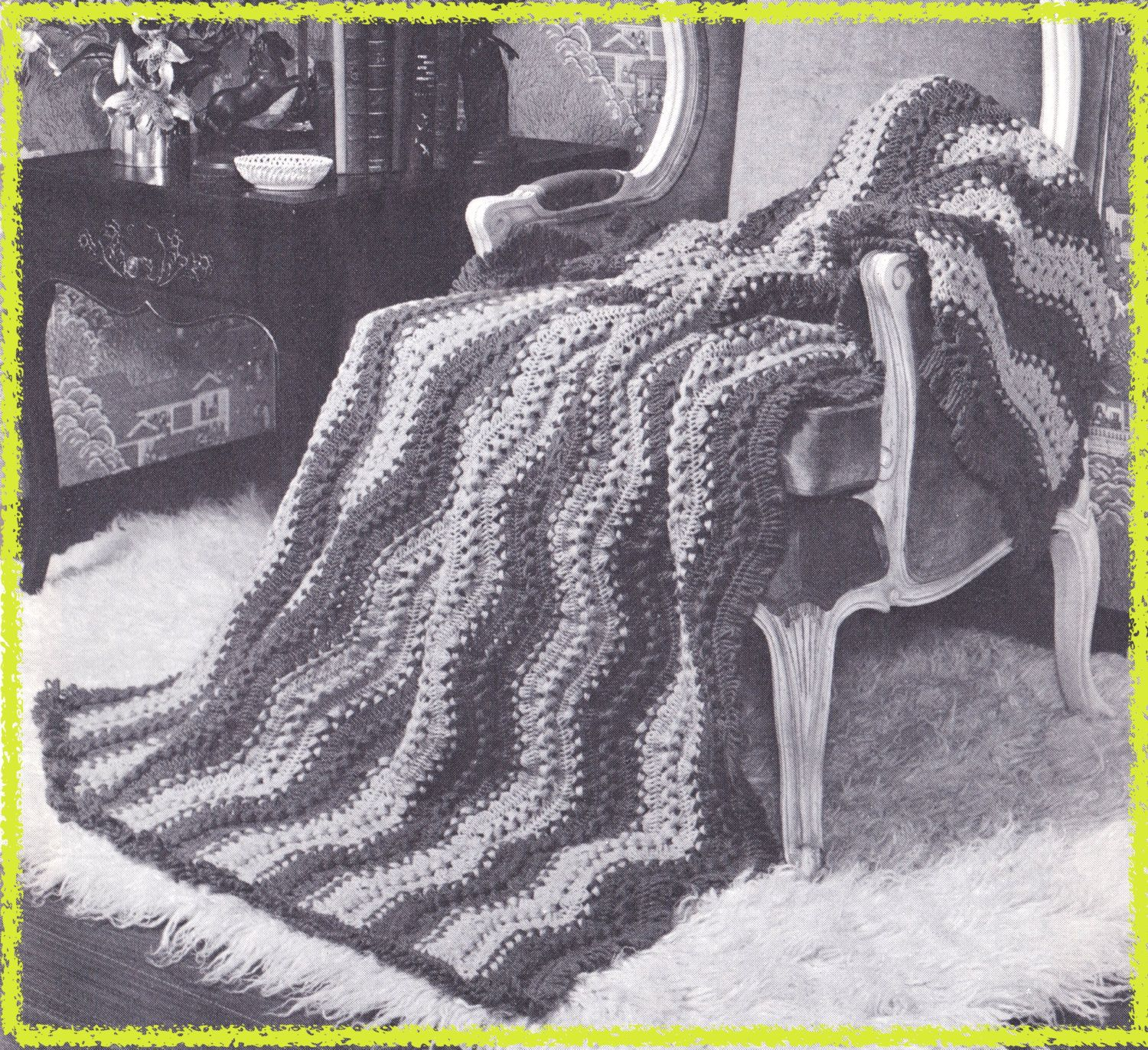 577 wavy afghan crochet pattern hairpin lace stitch pattern 577 wavy afghan crochet pattern hairpin lace stitch pattern couch throw chevron design blanket pdf download vintage 1950s free pattern bankloansurffo Image collections