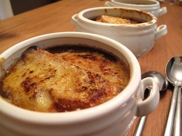 Three-Onion Soup with Garlic Croutons