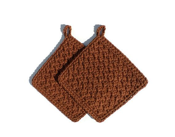 Crochet POT HOLDERS  Set of 2  Cloves Brown  Oven Mitts by pluinct, $10.00