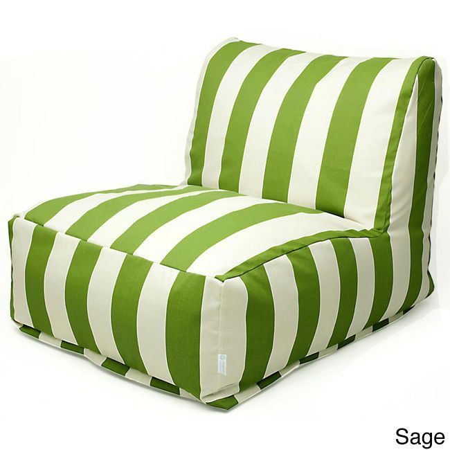 Majestic Home Goods Indoor Outdoor Vertical Stripe Bean Bag Chair Lounger Burnt Orange Size Single Patio Furniture Fabric
