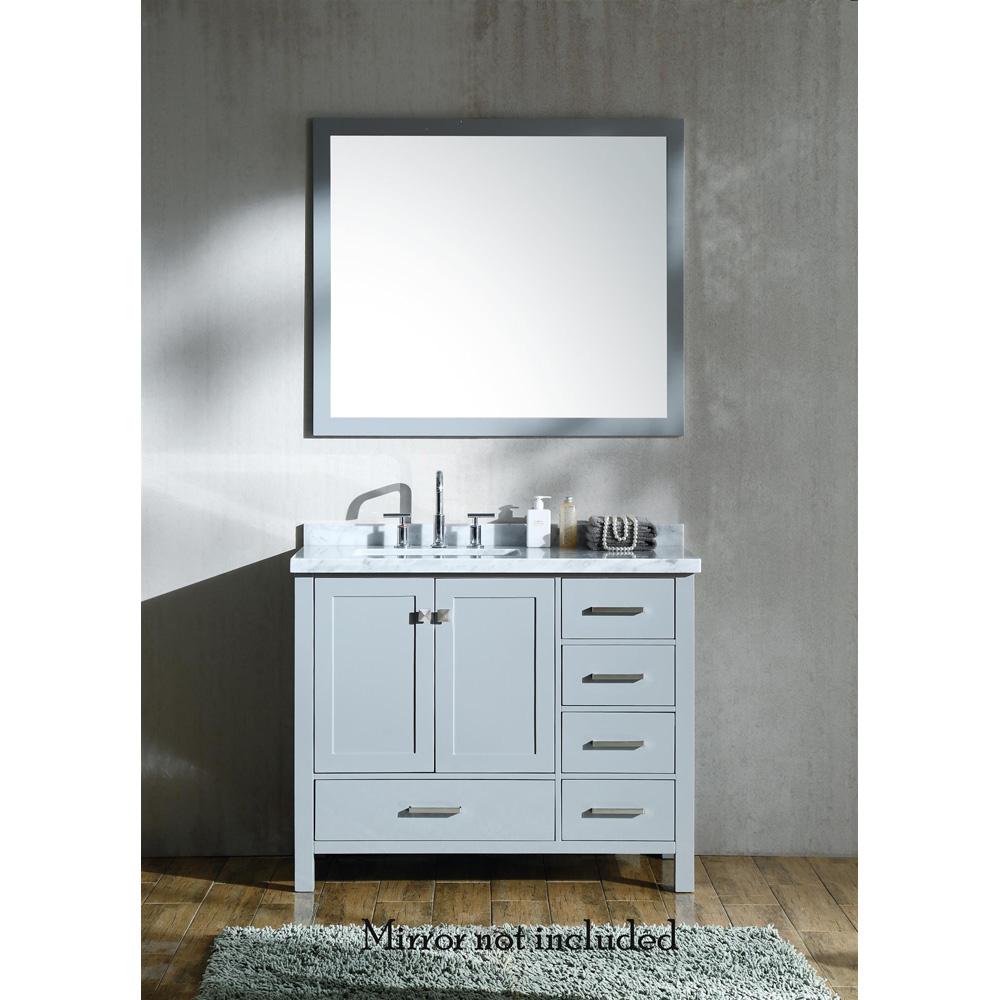Ariel Cambridge 43 Single Sink Vanity With Left Offset Rectangle Sink And White Carrara Marble Countertop Grey Single Sink Vanity Bathroom Vanity Tops Single Bathroom Vanity [ 1000 x 1000 Pixel ]