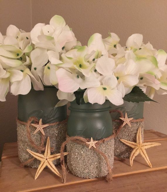 Seaglass beach centerpieces mason jar coastal wedding centerpiece seaglass beach centerpieces mason jar coastal wedding centerpiece beach themed bridal shower decorations beach bathroom decor beach decor pinterest junglespirit Image collections