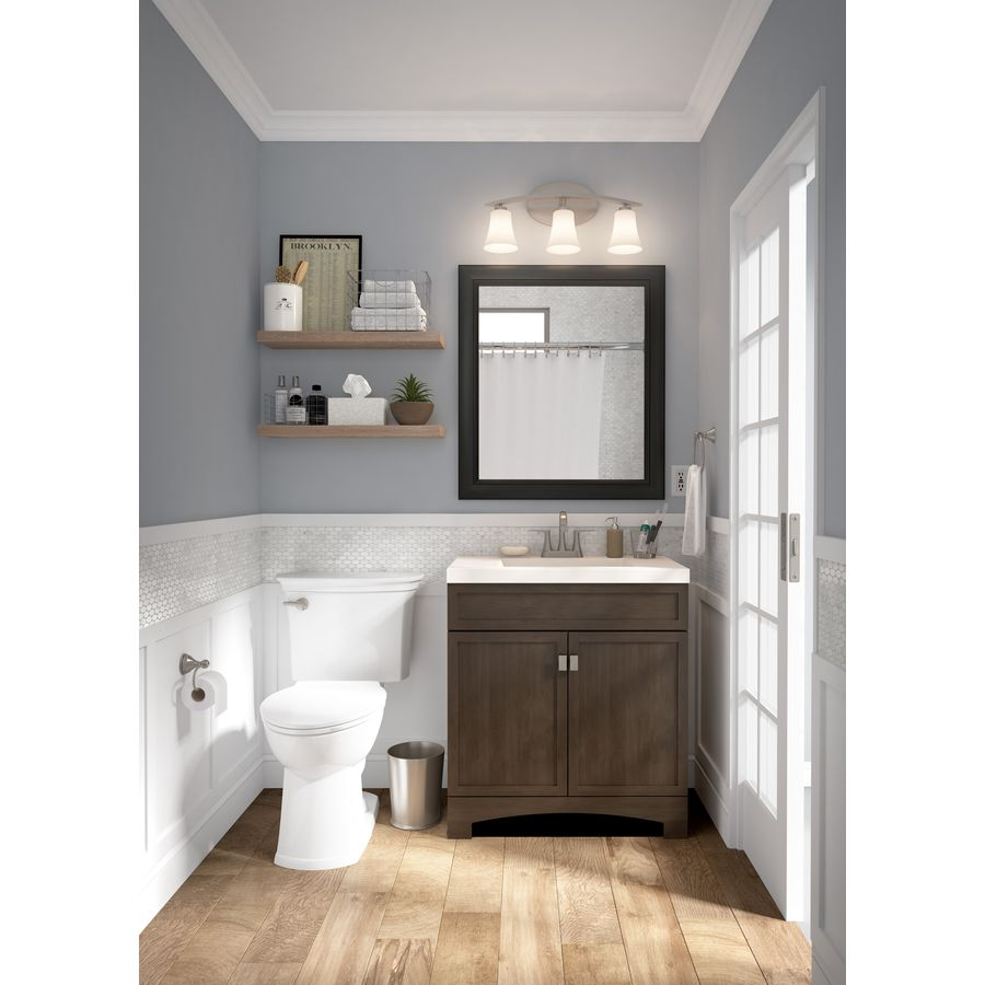 Style Selections Drayden 30 5 In Heirloom Single Sink Bathroom Vanity With White Cultured Marble Top Lowes Com Single Sink Bathroom Vanity Bathroom Sink Vanity Bathroom Vanity