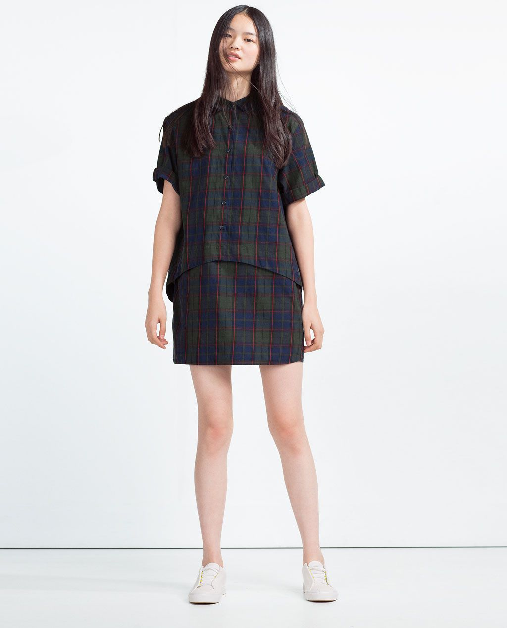 3a3d381389 ZARA - TRF - CHECKED ORGANIC COTTON DRESS