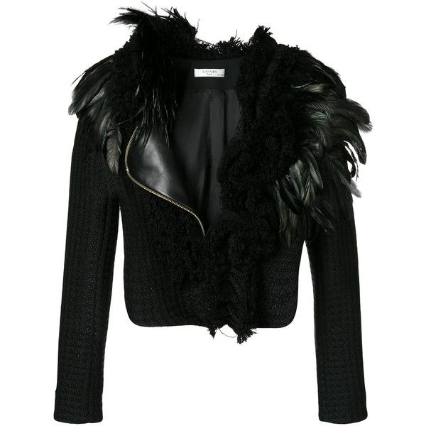 9c82ed90b4c Lanvin feather-trimmed jacket ($2,674) ❤ liked on Polyvore featuring  outerwear, jackets, black, zip front jacket, feather jacket, lanvin jacket,  lanvin and ...