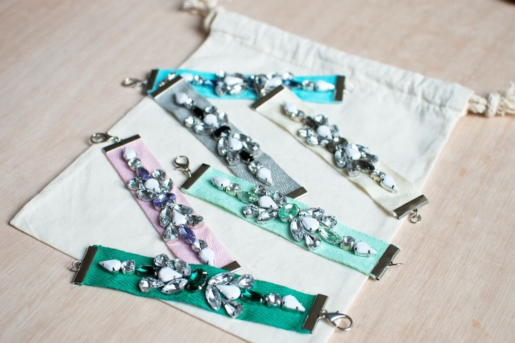 DIY: Jewelled Ribbon Bracelets http://apairandasparediy.com/2014/02/diy-jeweled-ribbon-bracelets.html