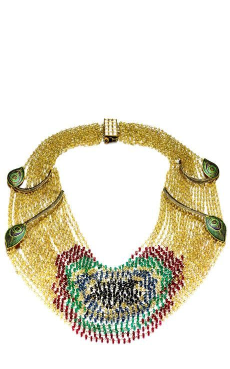 One-Of-A-Kind Sapphire, Emerald, Spinel & Diamond Grand Peacock Necklace by Madhuri Parson for Preorder on Moda Operandi