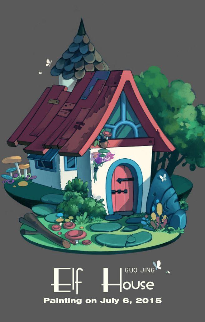 精灵之屋 #游戏场景##Q版场景## Illustration Pinterest Game