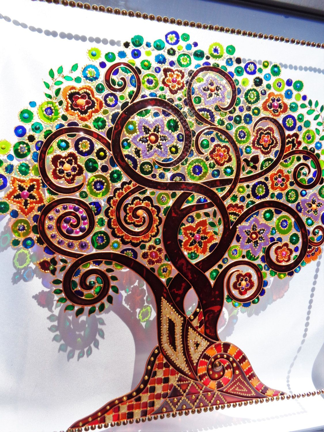 "Tree of life art 15x15"" Glass painting Wall decor by ... - photo#25"