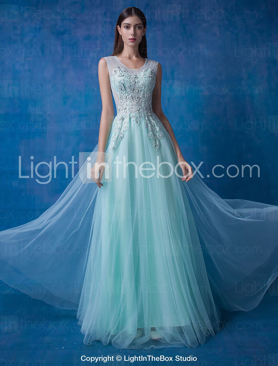Formal Evening Dress Ball Gown Scoop Floor-length Lace / Tulle ...