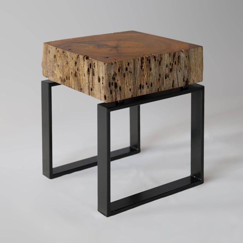 Handmade Scrap Metal Industrial Side Table Metal Furniture Welded Furniture Metal Table
