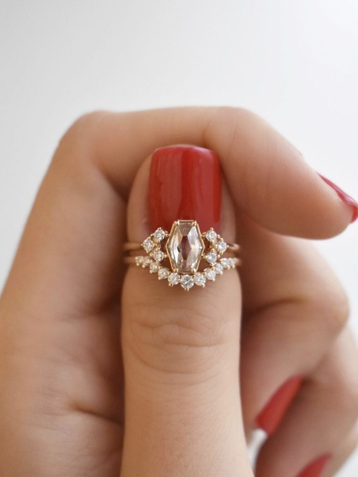 The Unexpected Engagement Ring Shape That's Taking Over - Engagement ring shapes, Hexagon engagement ring, Vintage engagement rings, Unique engagement rings, Colored engagement rings, Classic engagement rings - For the brides who want something unique that doesn't feel too trendy, opt for one of these hexagon engagement rings  The subtle shape will make an impact