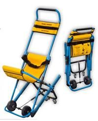 World's First Stairway Evacuation Chair. 150kg capacity. weighs 10kg.Clear instructions permanently printed on seat reverse. Safety seatbelt. Converts to 4 wheels for flat surfaces. Totally smooth decent with braking traction system. NO LIFTING/BUMPING/CARRYING or DRAGGING just Safe Smooth Descent.