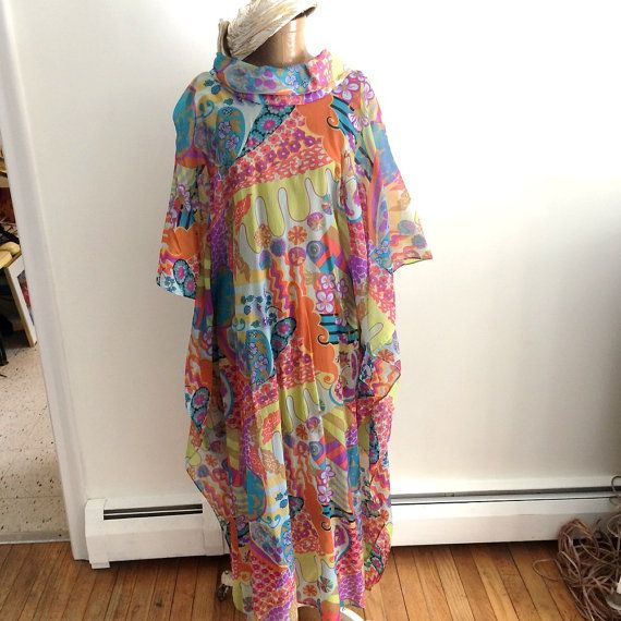 2ff0f236a7 70 s Groovey Chiffon Overdress or Long Tunic   Hip by vintagemb60 ...