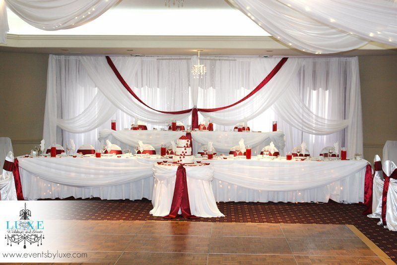 Burgundy and white wedding backdrop and head tables | backgrounds ...