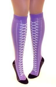 0550a1d447cf Purple n Black Knee High Shoe Boot Lace Socks Novelty Converse Crazy ...