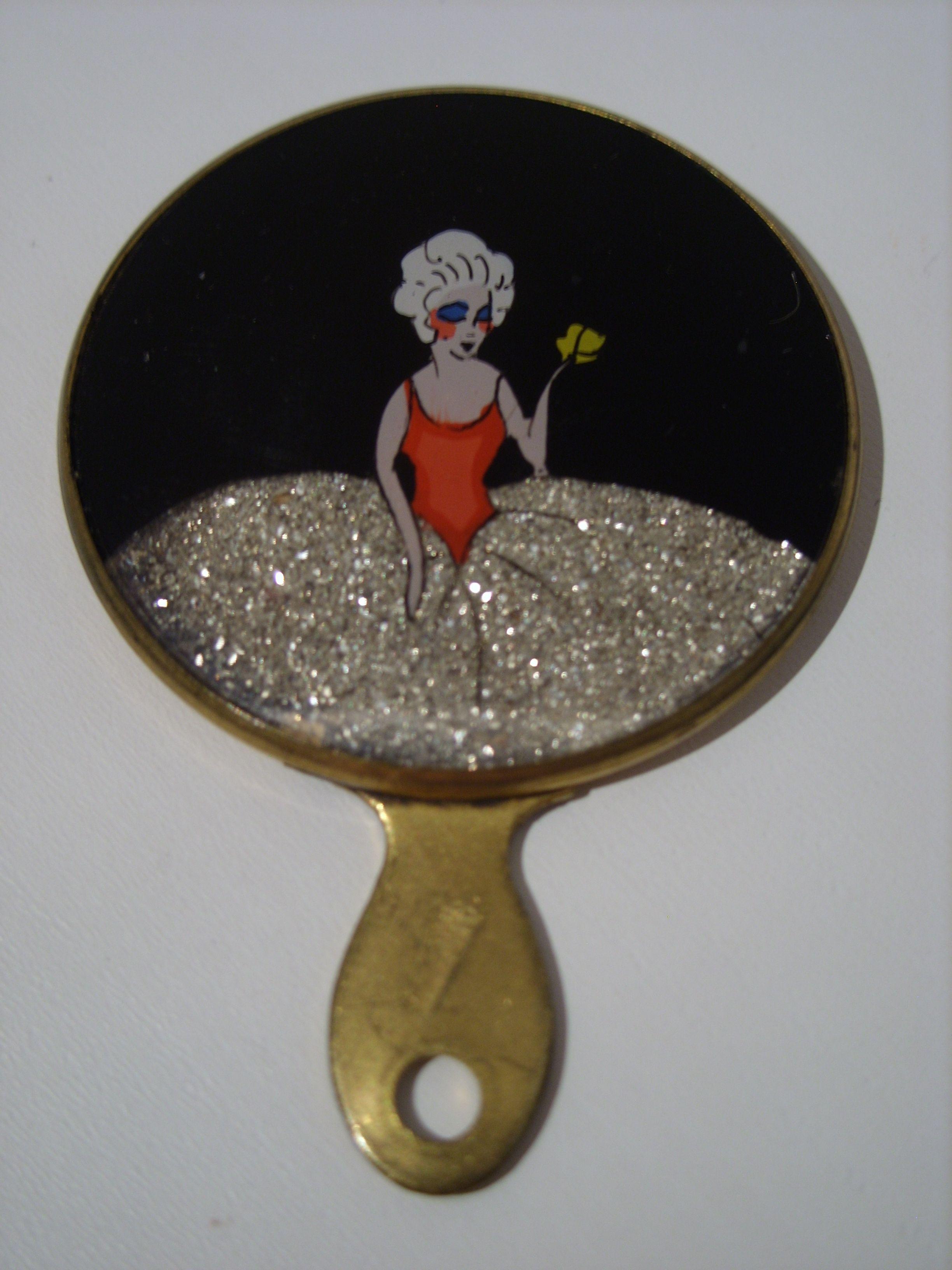 French glitter celluloid miniature mirror.