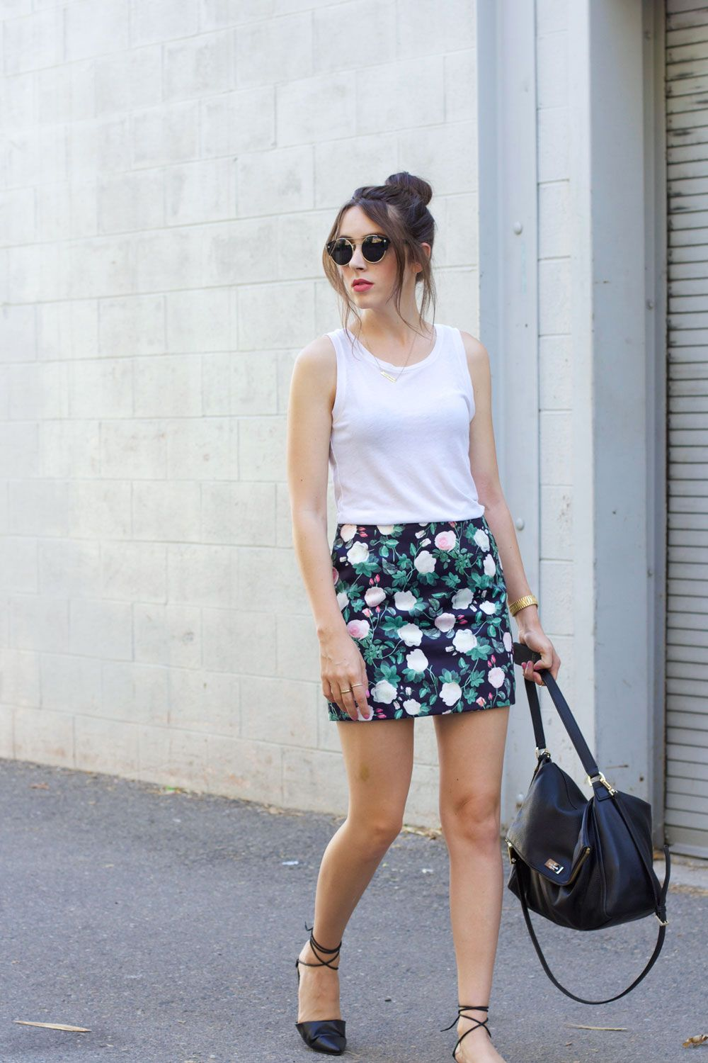 31a69dc6d floral mini skirt, white tank, black flats // summer outfit ...