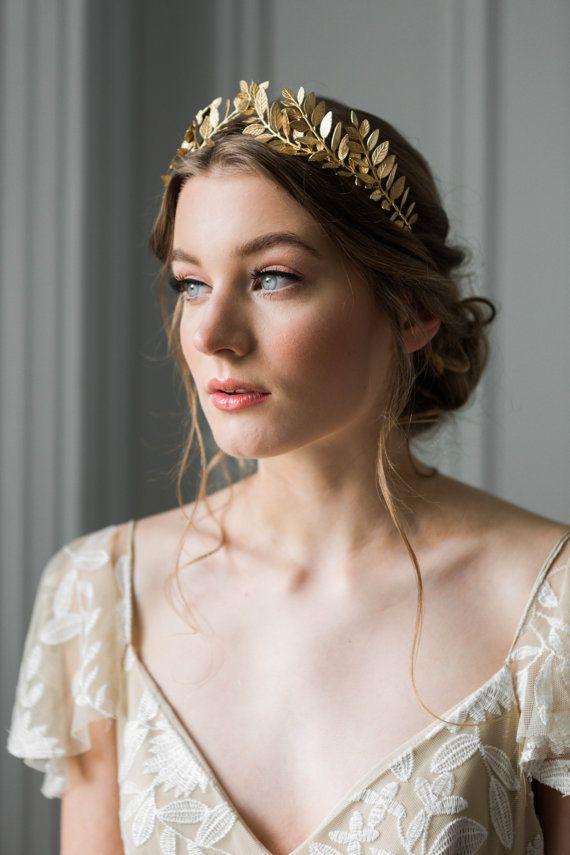 Tiara de hoja de laurel, corona nupcial, tiara nupcial, tiara de oro, corona de hoja de oro, #101 de boda de la boda #101
