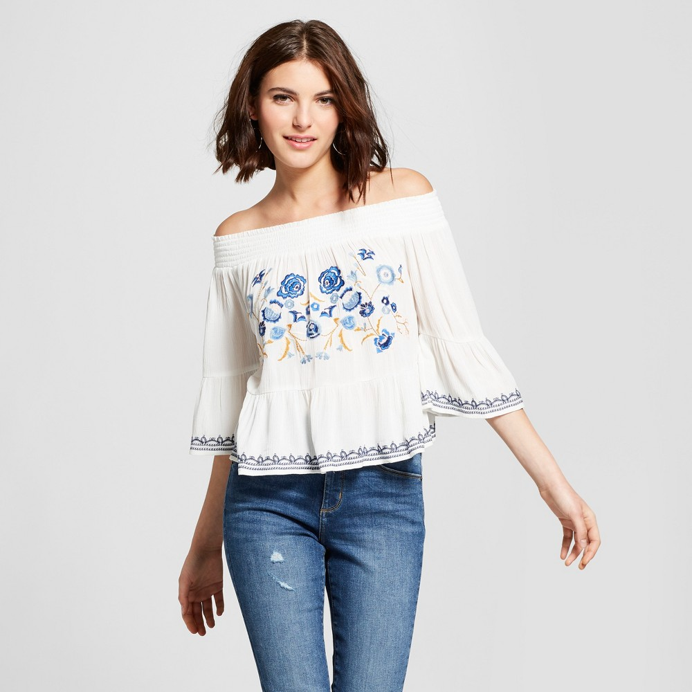 f17a9ad963e Women's Off the Shoulder Embroidered Bell Sleeve Top - Xhilaration White S