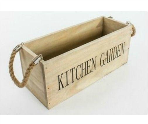 Wooden Kitchen Indoor Garden Herb Box Basket Planter With Jute Rope Hangers Home Gift Idea
