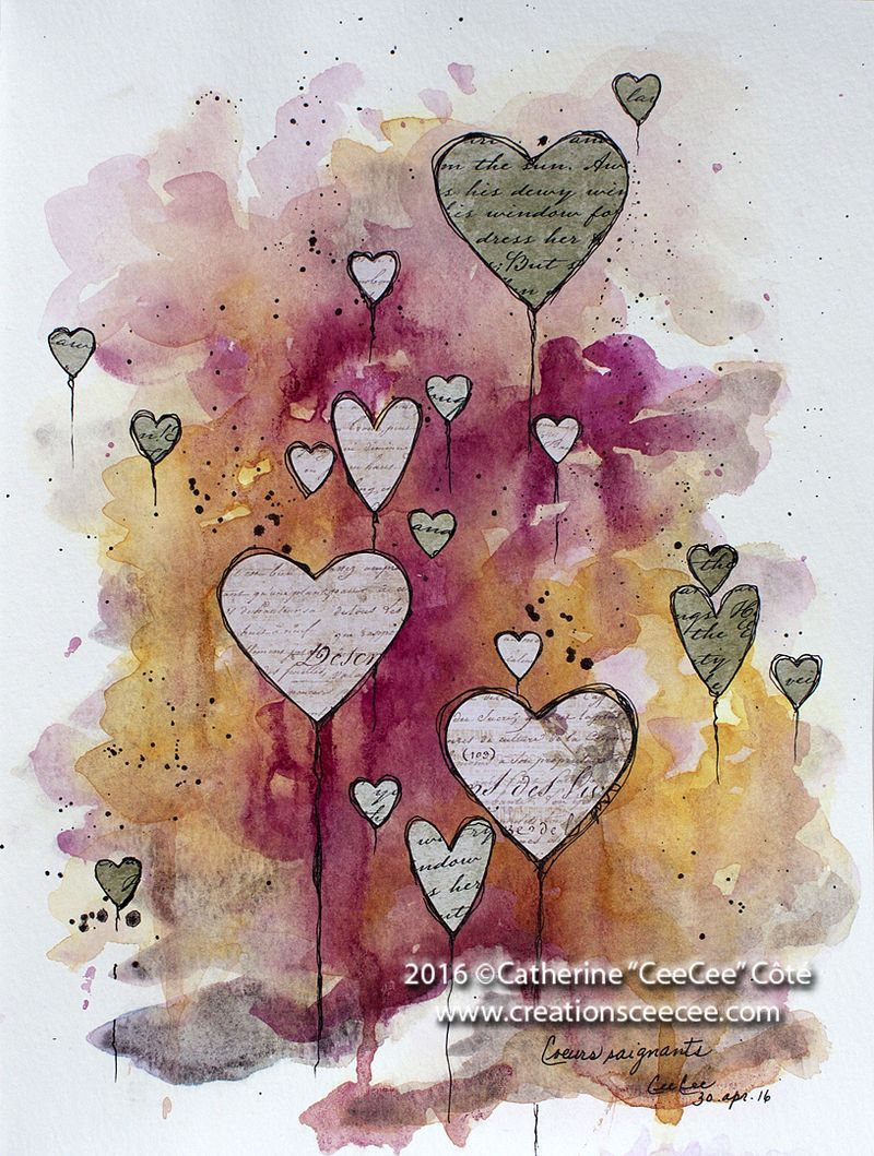 Collaged Hearts Art Journal Inspiration Art Journal Pages Book Art