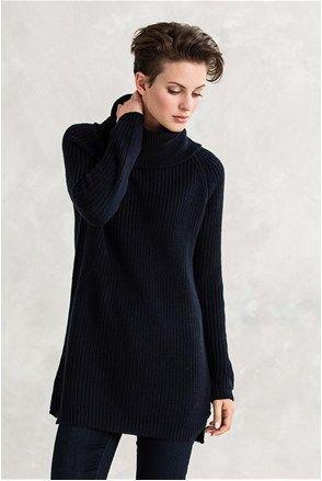 Γυναικείο maxi πουλόβερ μπλε μελανζέ - Ellos  5f8a3961df7