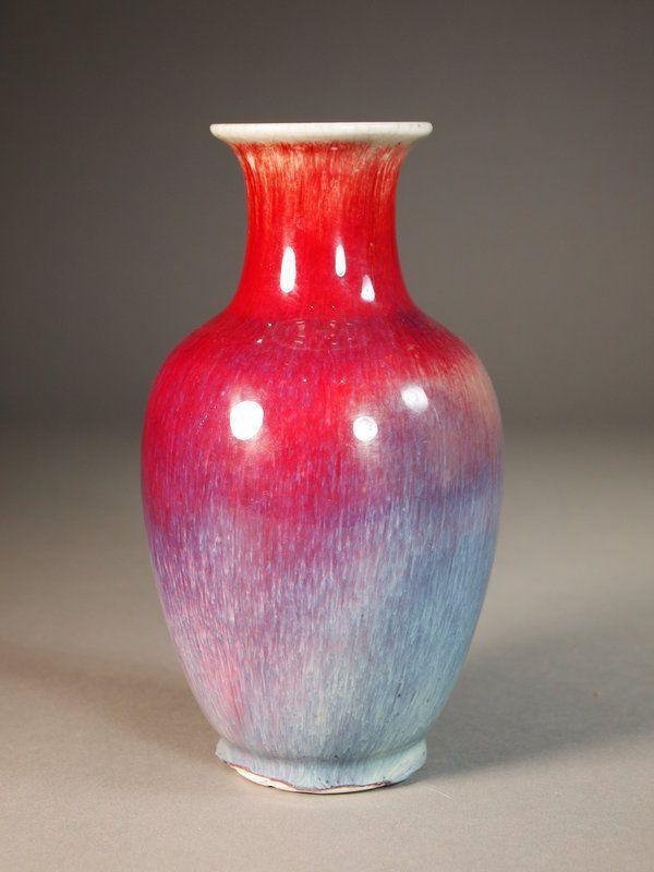 Chinese Porcelain Flambe Glazed Vase 1800 S Wow What A Stunning Glaze Ceramic Glaze Recipes Chinese Porcelain Vase